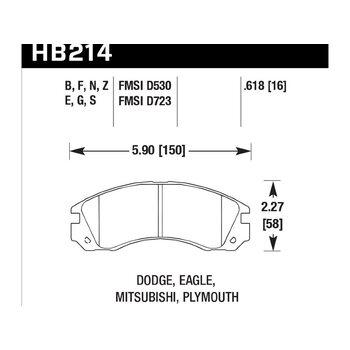 Колодки тормозные HB214F.618 HAWK HPS передние Mitsubishi Outlander I, II, XL All 2003->