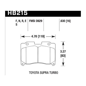 Колодки тормозные HB215N.630 HAWK HP Plus