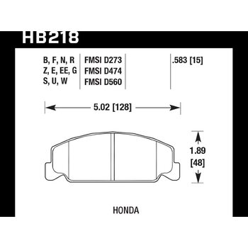 Колодки тормозные HB218Z.583 HAWK PC передние Honda