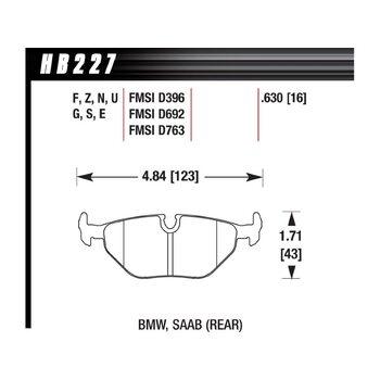 Колодки тормозные HB227B.630 HAWK Street 5.0 задние BMW 5 (E34) / 7 (E32) / M3 3.0 E36