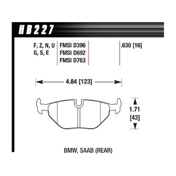 Колодки тормозные HB227Z.630 HAWK PC задние BMW 5 (E34) / 7 (E32) / M3 3.0 E36