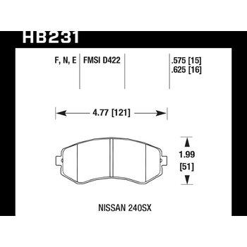 Колодки тормозные HB231F.625 HAWK HPS