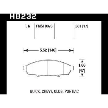 Колодки тормозные HB232F.681 HAWK HPS