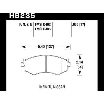 Колодки тормозные HB235Z.665 HAWK PC передние HYUNDAI / NISSAN