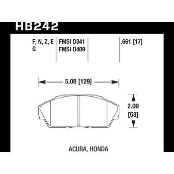 Колодки тормозные HB242F.661 HAWK HPS