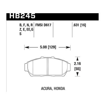 Колодки тормозные HB245F.631 HAWK HPS