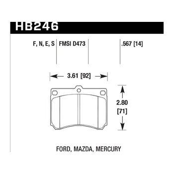 Колодки тормозные HB246F.567 HAWK HPS