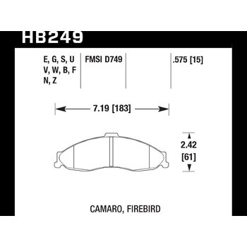 Колодки тормозные HB249F.575 HAWK HPS