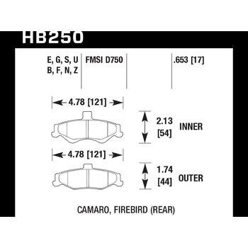Колодки тормозные HB250F.653 HAWK HPS