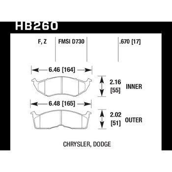 Колодки тормозные HB260F.670 HAWK HPS