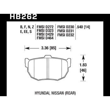Колодки тормозные HB262N.540 HAWK HP Plus