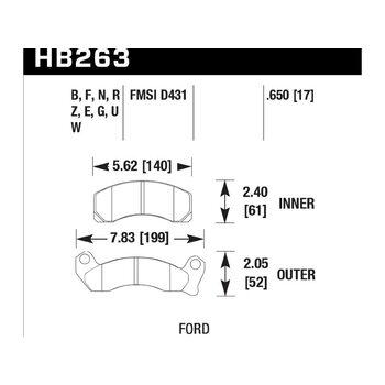 Колодки тормозные HB263N.650 HAWK HP Plus