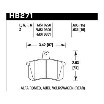 Колодки тормозные HB271N.635 HAWK HP+ задние AUDI / VW