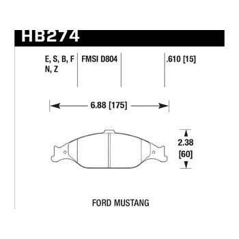 Колодки тормозные HB274F.610 HAWK HPS