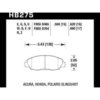 Колодки тормозные HB275B.620 HAWK Street 5.0 передние Honda Civic, Accord