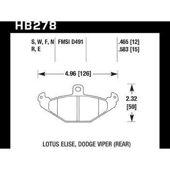 Колодки тормозные HB278F.465 HAWK HPS задние DODGE / RENAULT