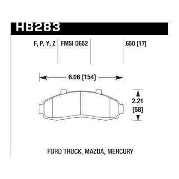 Колодки тормозные HB283P.650 HAWK SD передние FORD Explorer, Ranger
