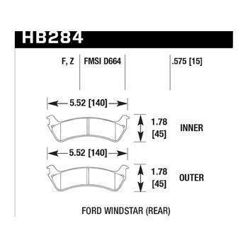 Колодки тормозные HB284F.575 HAWK HPS; 15mm