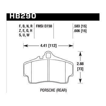 Колодки тормозные HB290F.606 HAWK HPS задние PORSCHE 911 (997), (986), (996), Cayman