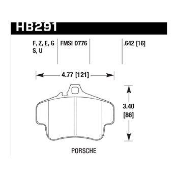 Колодки тормозные HB291Z.642 HAWK PC; 17mm