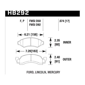 Колодки тормозные HB292F.674 HAWK HPS