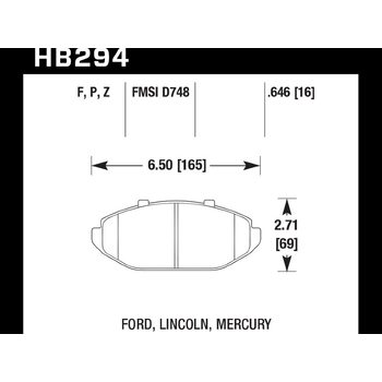 Колодки тормозные HB294F.646 HAWK HPS