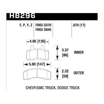 Колодки тормозные HB296F.670 HAWK HPS