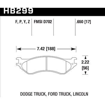 Колодки тормозные HB299Y.650 HAWK LTS передние LINCOLN / DODGE / FORD