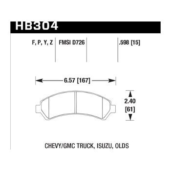Колодки тормозные HB304F.598 HAWK HPS передние CHEVROLET Blazer / GMC