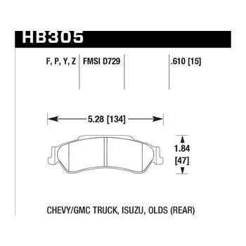 Колодки тормозные HB305Y.610 HAWK LTS
