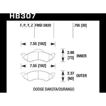 Колодки тормозные HB307Y.795 HAWK LTS