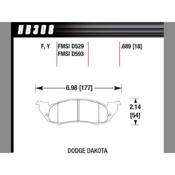 Колодки тормозные HB308F.689 HAWK HPS; 18mm