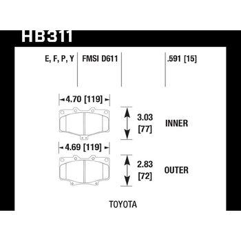 Колодки тормозные HB311F.591 HAWK HPS