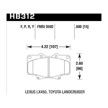 Колодки тормозные HB312F.591 HAWK HPS
