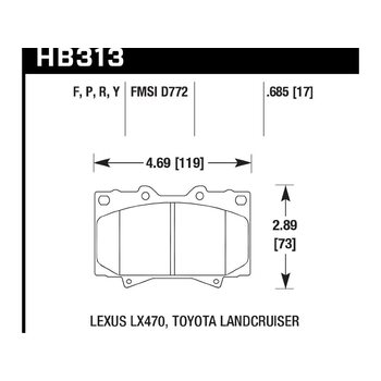 Колодки тормозные HB313Y.685 HAWK LTS передние LEXUS LX470 / TOYOTA LC100