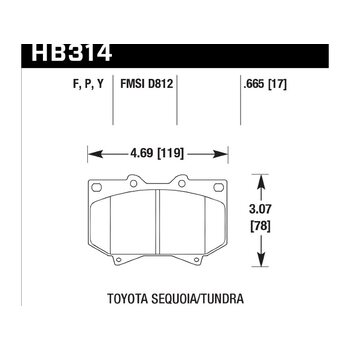 Колодки тормозные HB314F.665 HAWK HPS