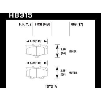 Колодки тормозные HB315F.669 HAWK HPS