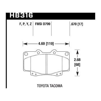 Колодки тормозные HB316F.670 HAWK HPS