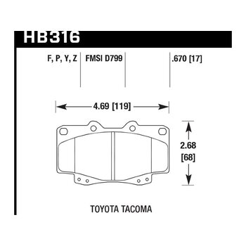 Колодки тормозные HB316Y.670 HAWK LTS