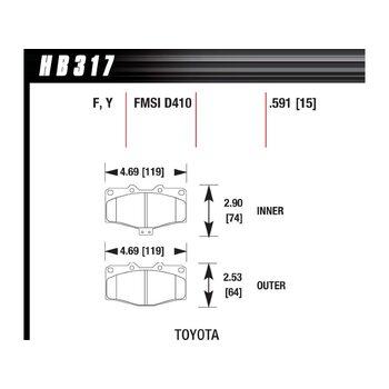 Колодки тормозные HB317Y.591 HAWK LTS; 15mm