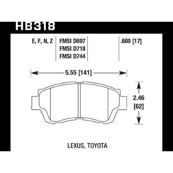 Колодки тормозные HB318F.669 HAWK HPS передние LEXUS GS 300 (SC300), GS 400 (SC400) / TOYOTA Camry 3