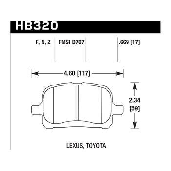 Колодки тормозные HB320F.669 HAWK HPS