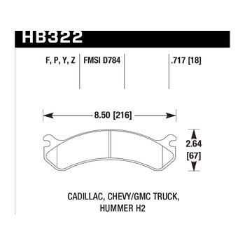 Колодки тормозные HB322F.717 HAWK HPS передние Hummer H2 / CHEVROLET Suburban