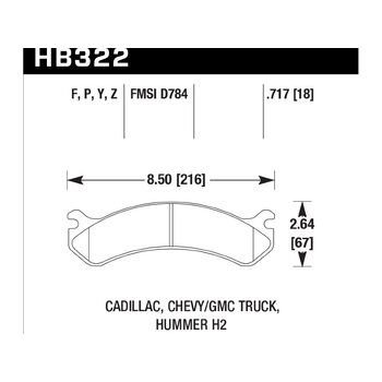 Колодки тормозные HB322Z.717 HAWK PC передние Hummer H2 / CHEVROLET Suburban