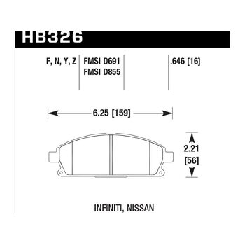 Колодки тормозные HB326Y.646 HAWK LTS