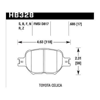 Колодки тормозные HB328N.685 HAWK HP+ передние TOYOTA Celica, Corolla Verso