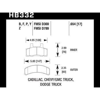 Колодки тормозные HB332Z.654 HAWK PC передние CADILLAC / CHEVROLET