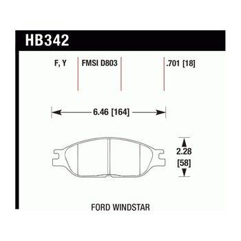 Колодки тормозные HB342Y.701 HAWK LTS; 18mm