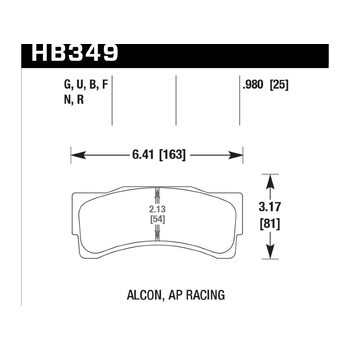 Колодки тормозные HB349F.980 HAWK HPS; 25mm