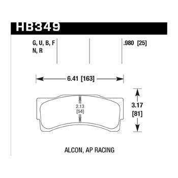Колодки тормозные HB349N.980 HAWK HP Plus; 25mm